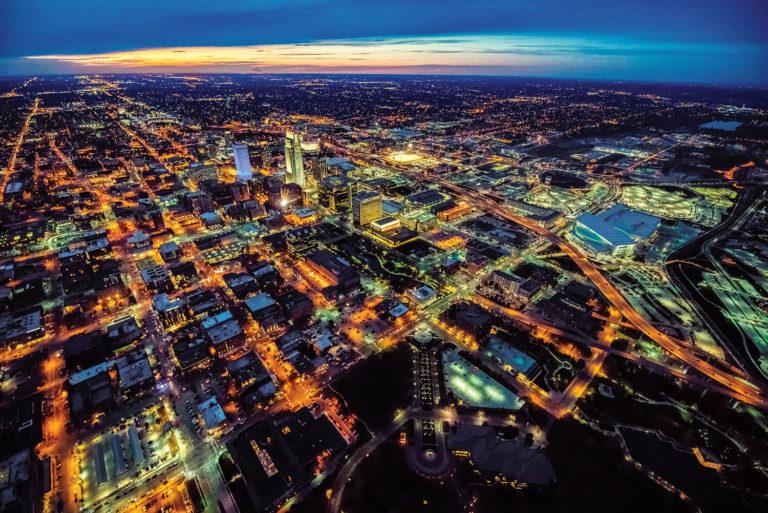 City birds eye view at night