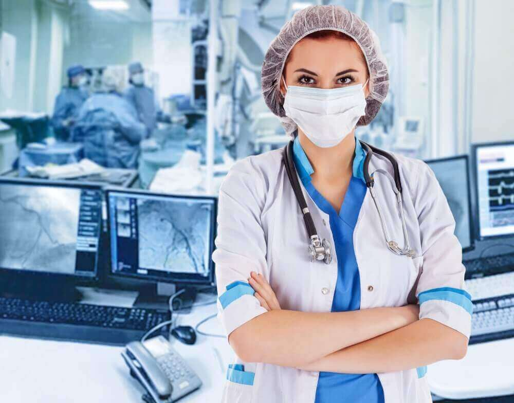 Surgeon standing in operating room