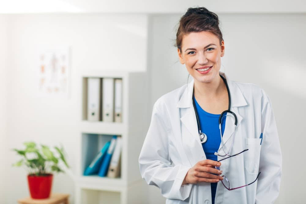 Physician in lab coat